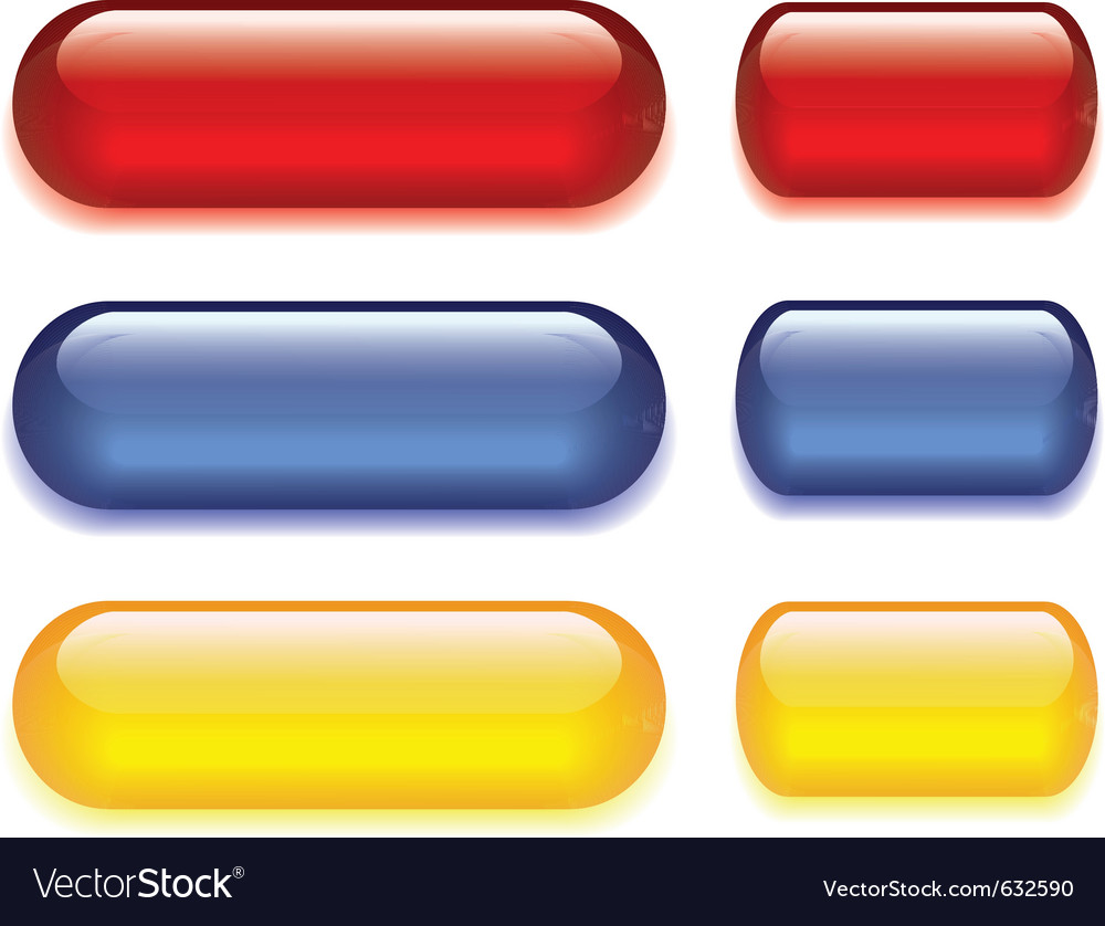 Set of six colored glass buttons red blue yellow vector | Price: 1 Credit (USD $1)