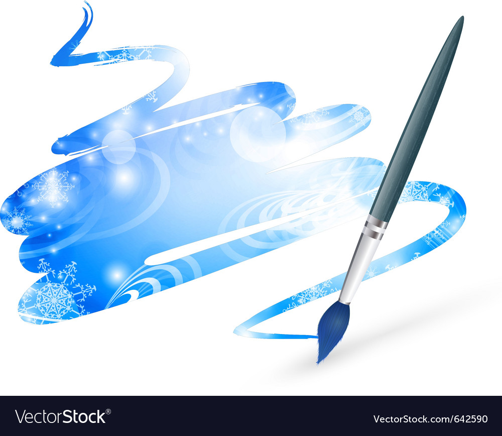 Winter drawing with paintbrush vector | Price: 1 Credit (USD $1)