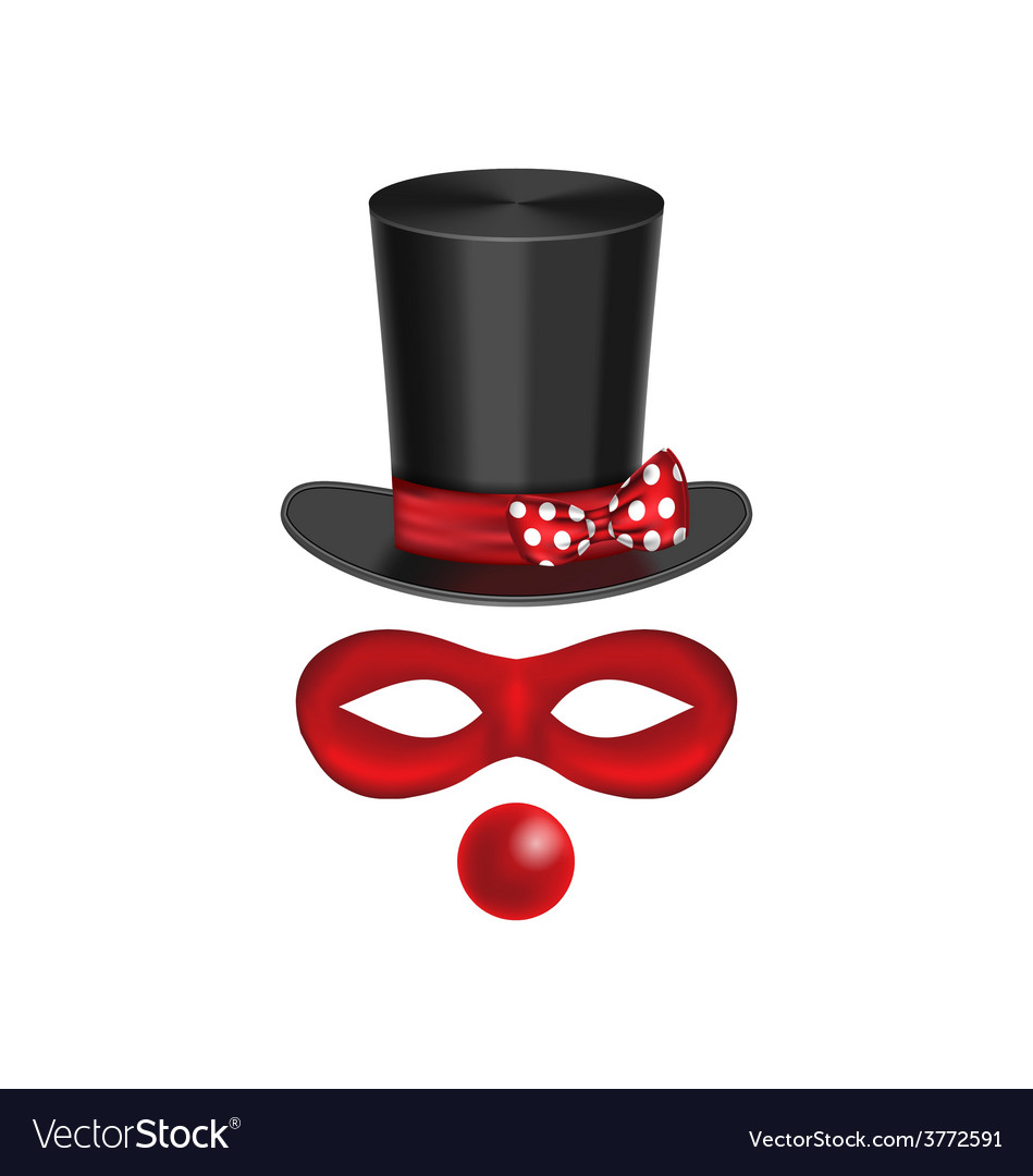 Accessories for clown - hat mask red nose are vector | Price: 1 Credit (USD $1)