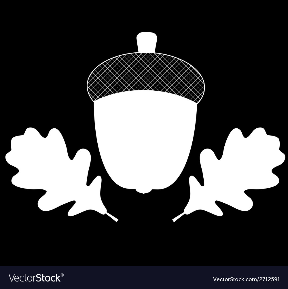Acorn with leaves silhouette vector | Price: 1 Credit (USD $1)