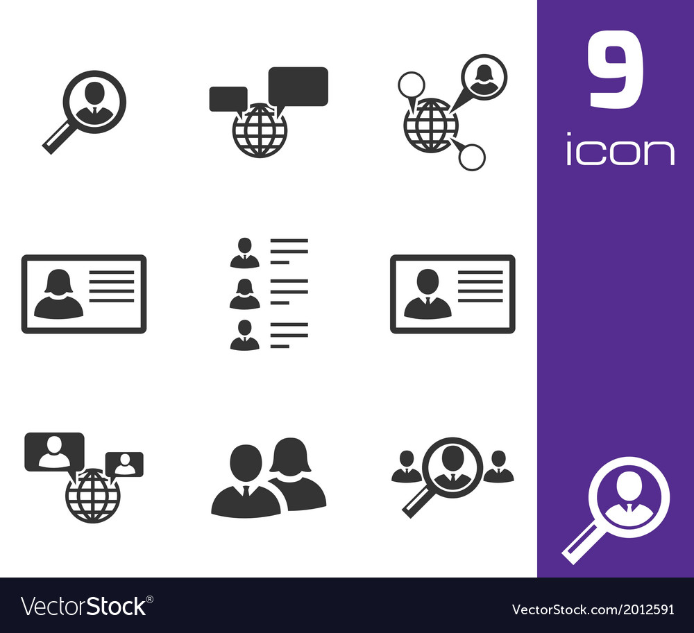 Black people search icons set vector | Price: 1 Credit (USD $1)