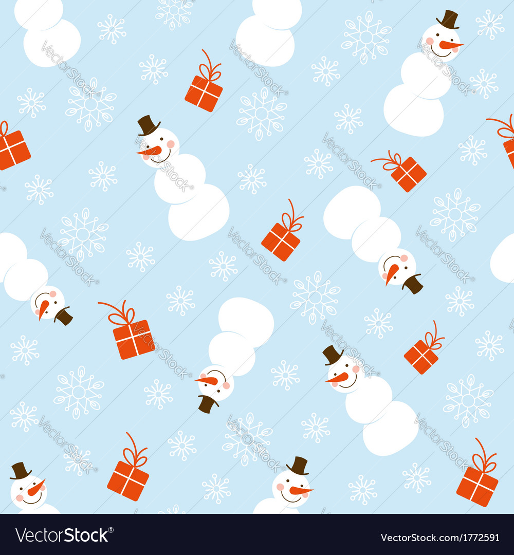 Christmas seamless pattern with snowman vector | Price:  Credit (USD $)