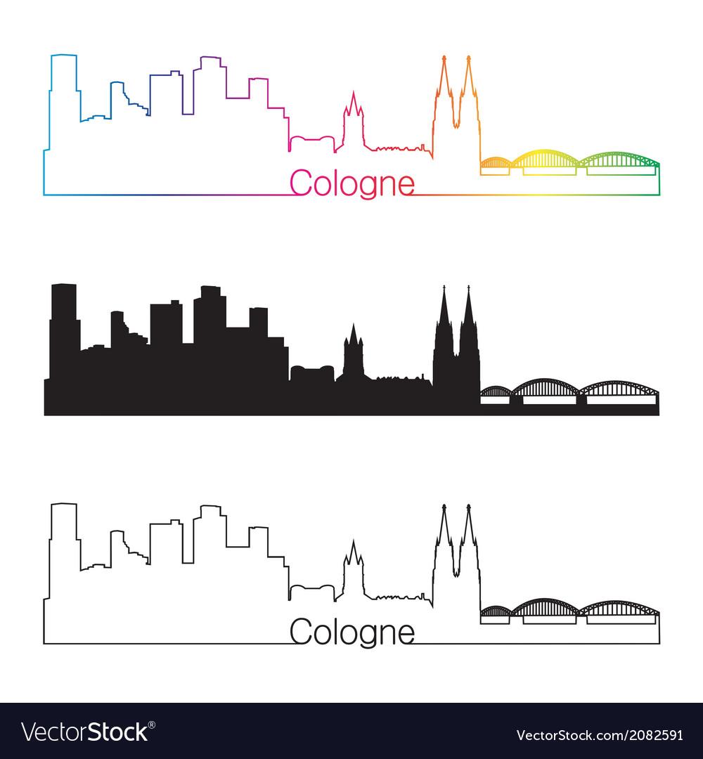 Cologne skyline linear style with rainbow vector