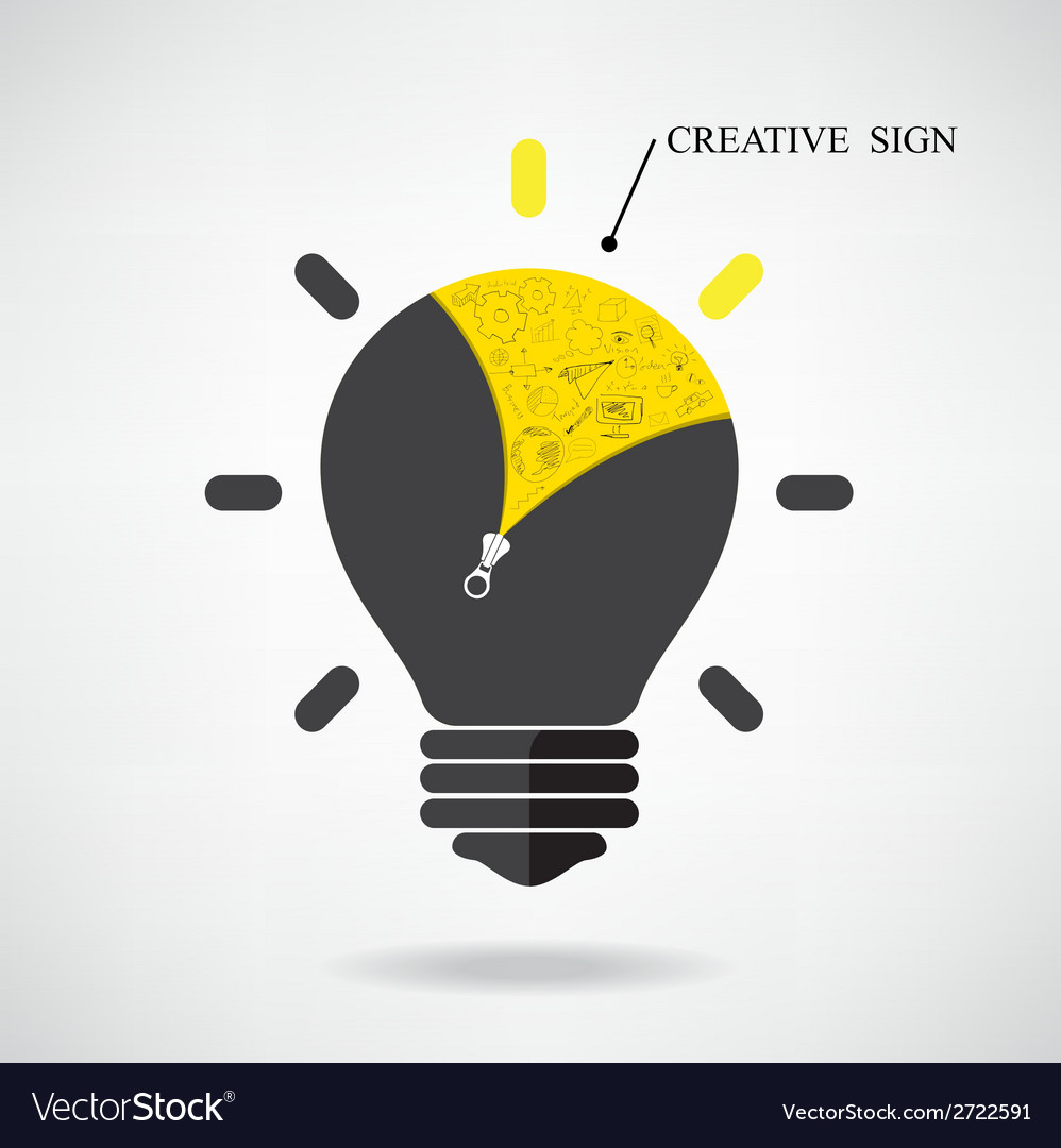 Creative light bulb idea concept with doodle hand vector | Price: 1 Credit (USD $1)