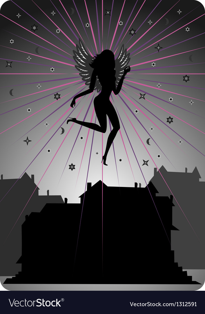 Dark angel soaring over houses vector | Price: 1 Credit (USD $1)