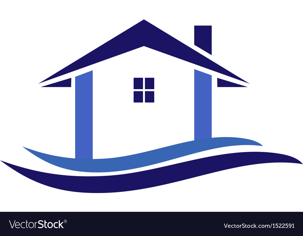 House and waves logo vector | Price: 1 Credit (USD $1)