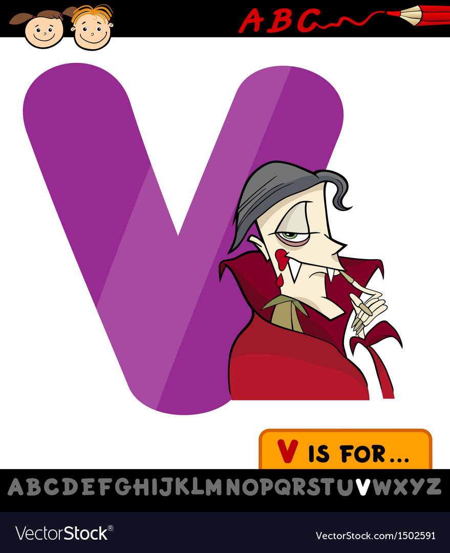 Letter v with vampire cartoon vector | Price: 1 Credit (USD $1)