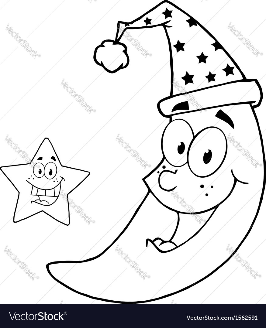 Royalty free rf clipart happy star and moon mascot vector | Price: 1 Credit (USD $1)