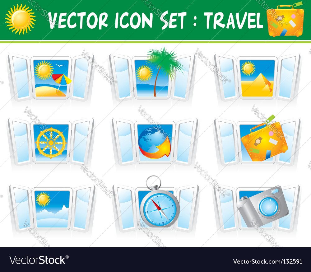 Set travel icons vector | Price: 1 Credit (USD $1)