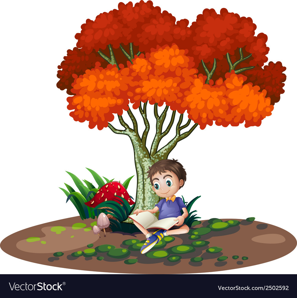 A boy reading under the tree vector   Price: 1 Credit (USD $1)