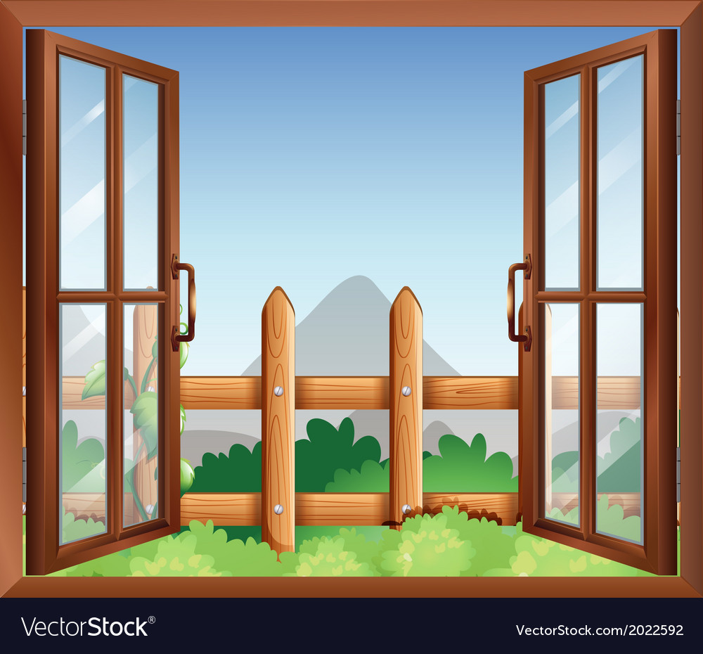 A window with a view of the backyard vector | Price: 1 Credit (USD $1)