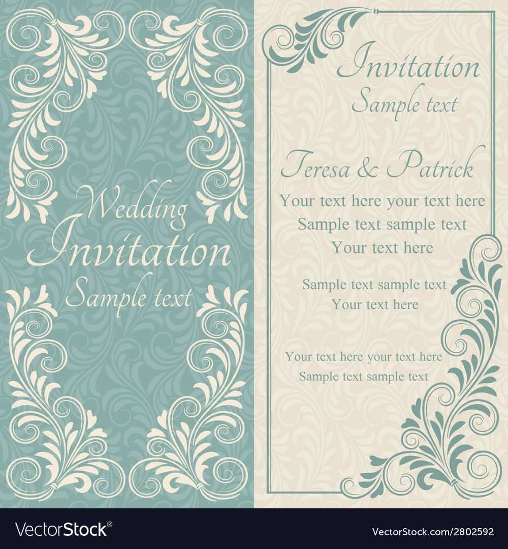 Baroque wedding invitation blue and beige vector | Price: 1 Credit (USD $1)