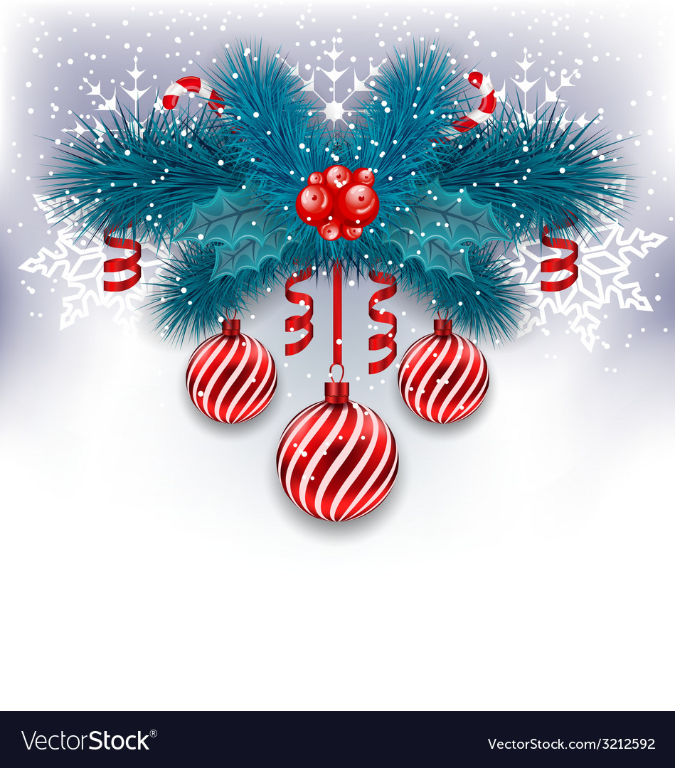 Christmas background with fir branches glass balls vector | Price: 1 Credit (USD $1)