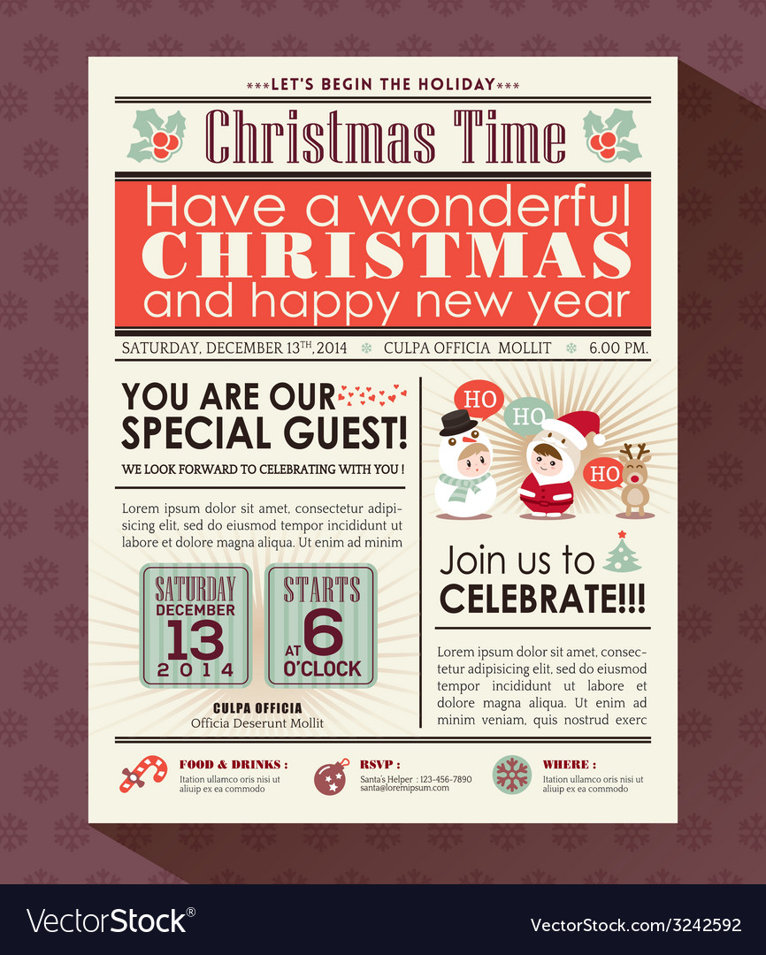 Christmas party poster invite in newspaper style vector | Price: 1 Credit (USD $1)