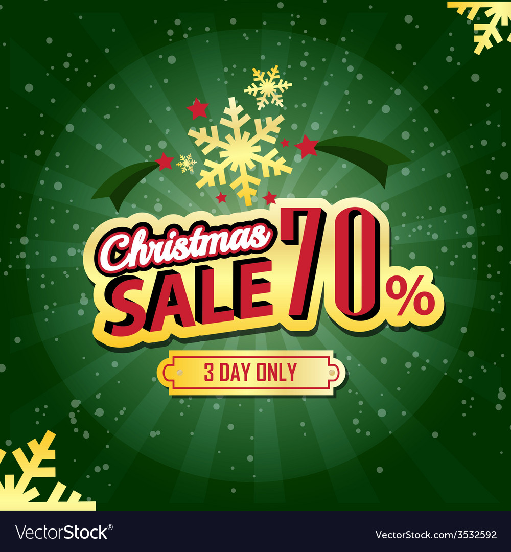 Christmas sale 70 percent typographic background vector | Price: 1 Credit (USD $1)