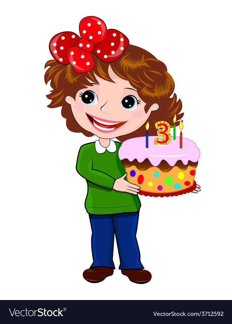 Girl with cake vector | Price: 1 Credit (USD $1)
