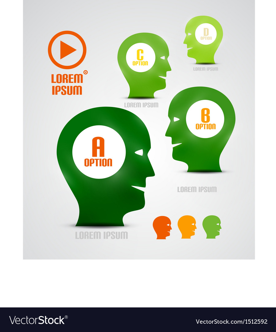 Head and ideas presentation template vector