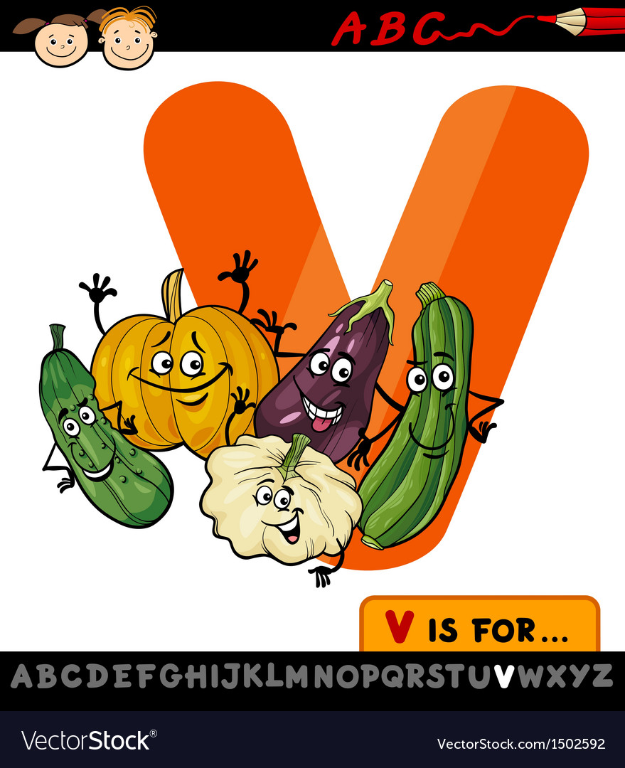 Letter v with vegetables cartoon vector | Price: 1 Credit (USD $1)