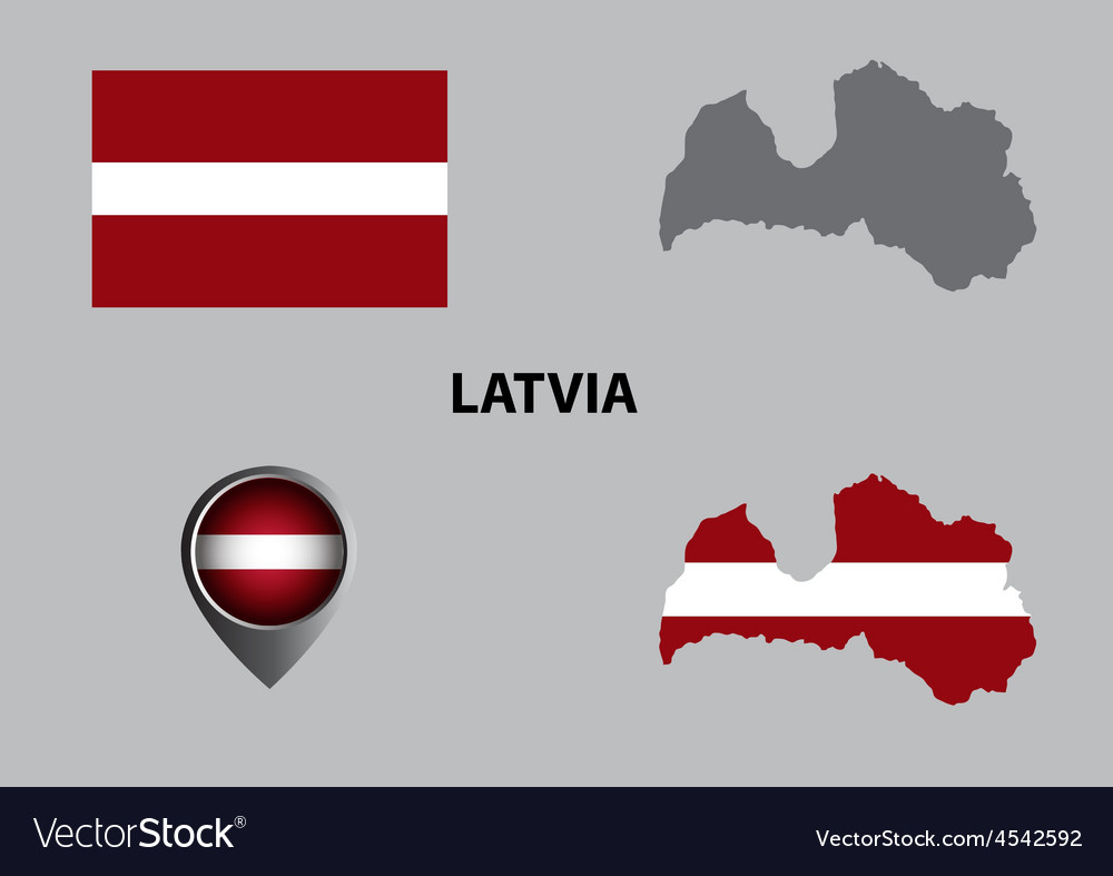 Map of latvia and symbol vector | Price: 1 Credit (USD $1)