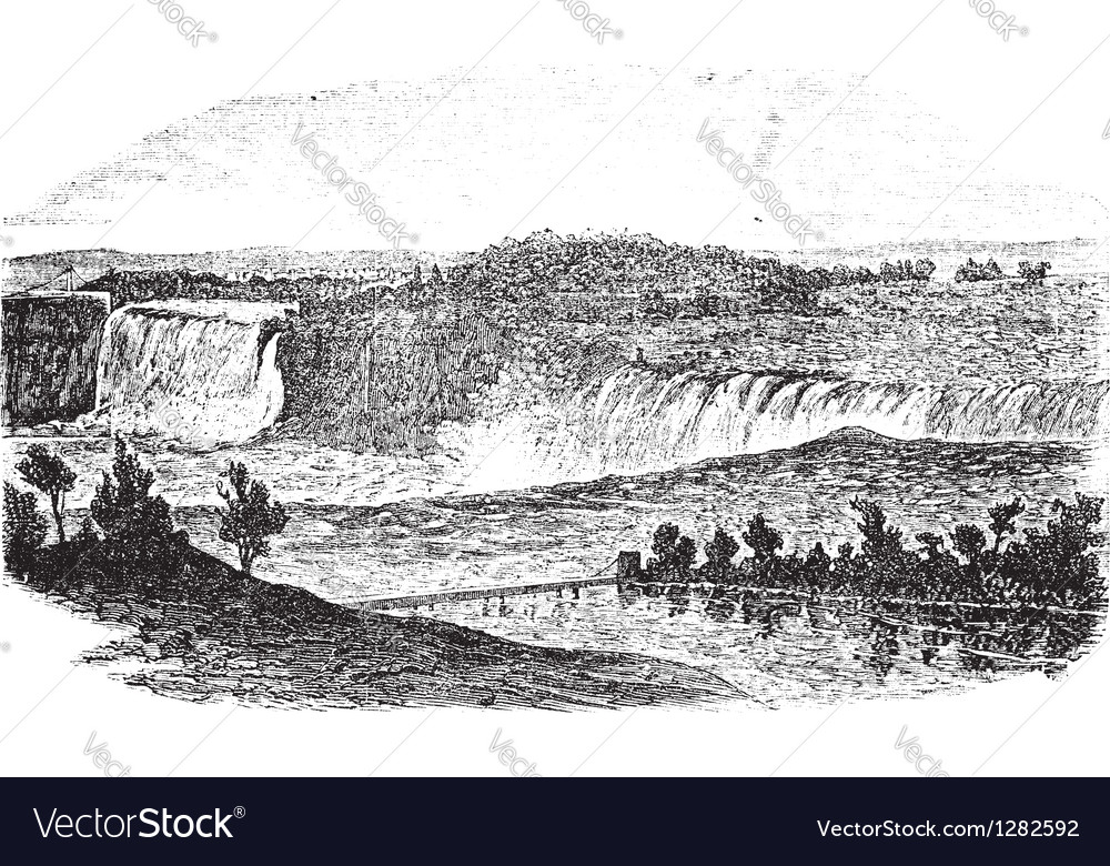Niagara falls vintage engraving vector | Price: 1 Credit (USD $1)