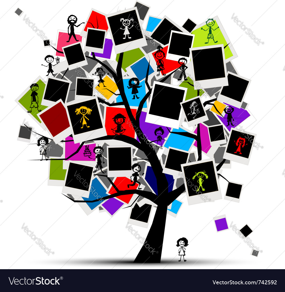 Photo frames tree vector