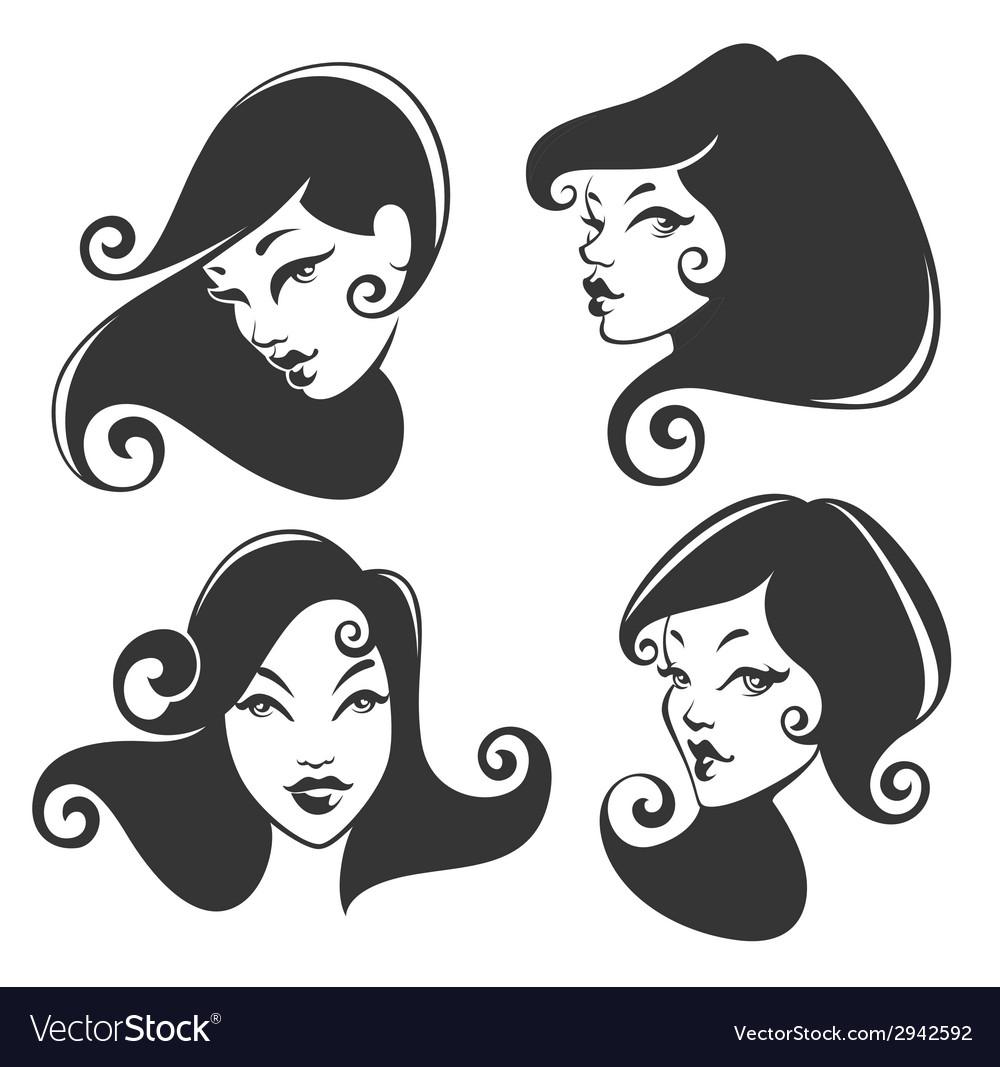 Retro faces vector | Price: 1 Credit (USD $1)