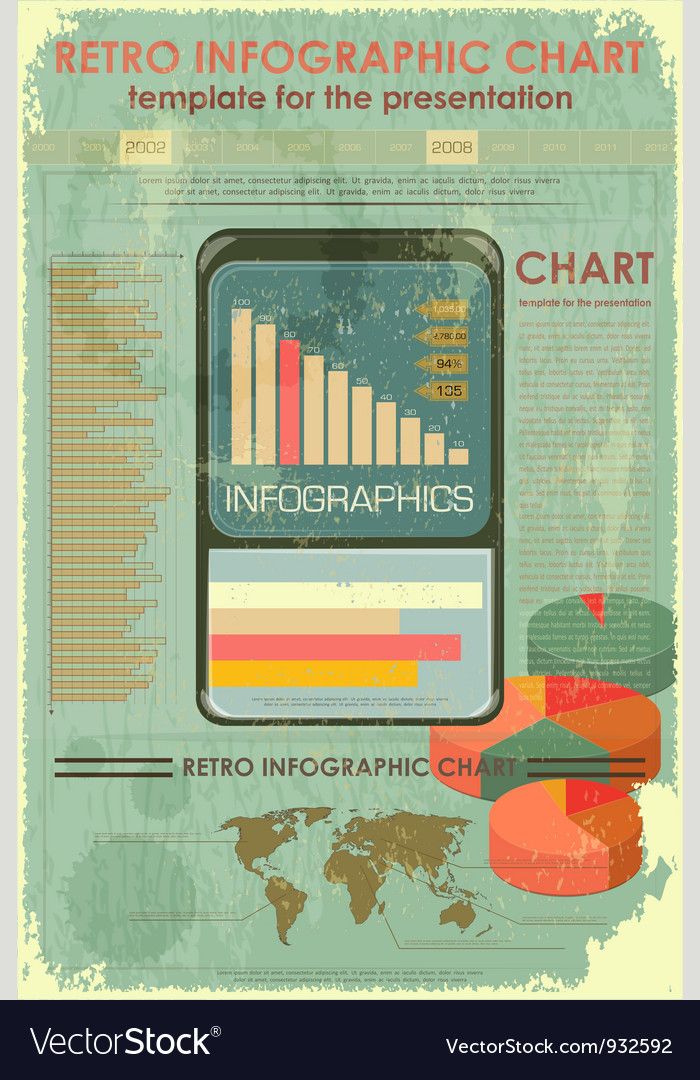 Retro infographic design with world map vector | Price: 3 Credit (USD $3)