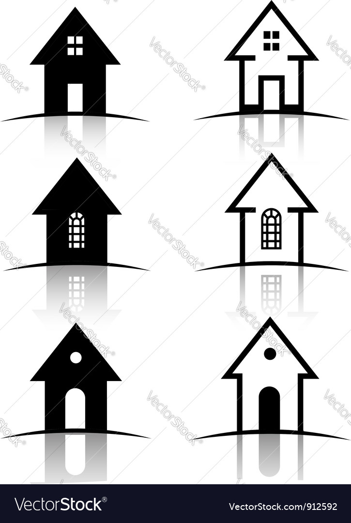 Set of 6 house icons vector | Price: 1 Credit (USD $1)