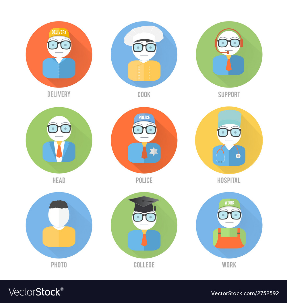 Set of faces icons of occupation in flat style vector | Price: 1 Credit (USD $1)