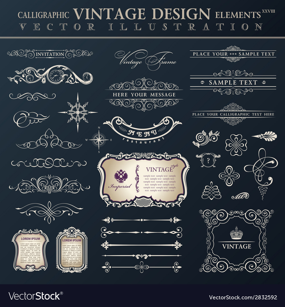 Set vintage calligraphic design elements and page vector | Price: 1 Credit (USD $1)