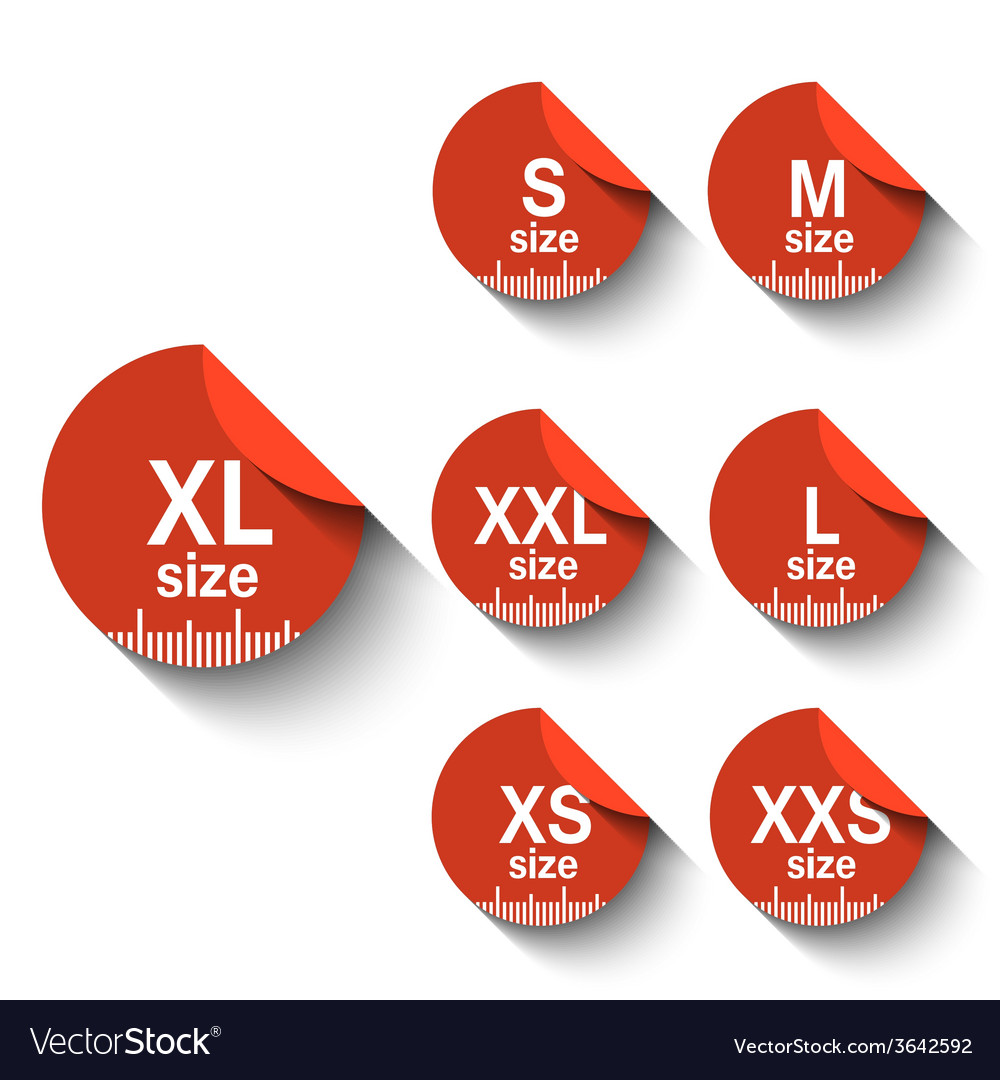Size labels vector | Price: 1 Credit (USD $1)