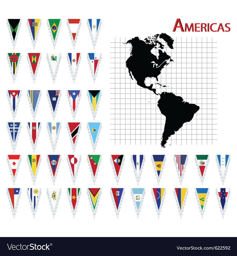 South and north america flags vector | Price: 1 Credit (USD $1)