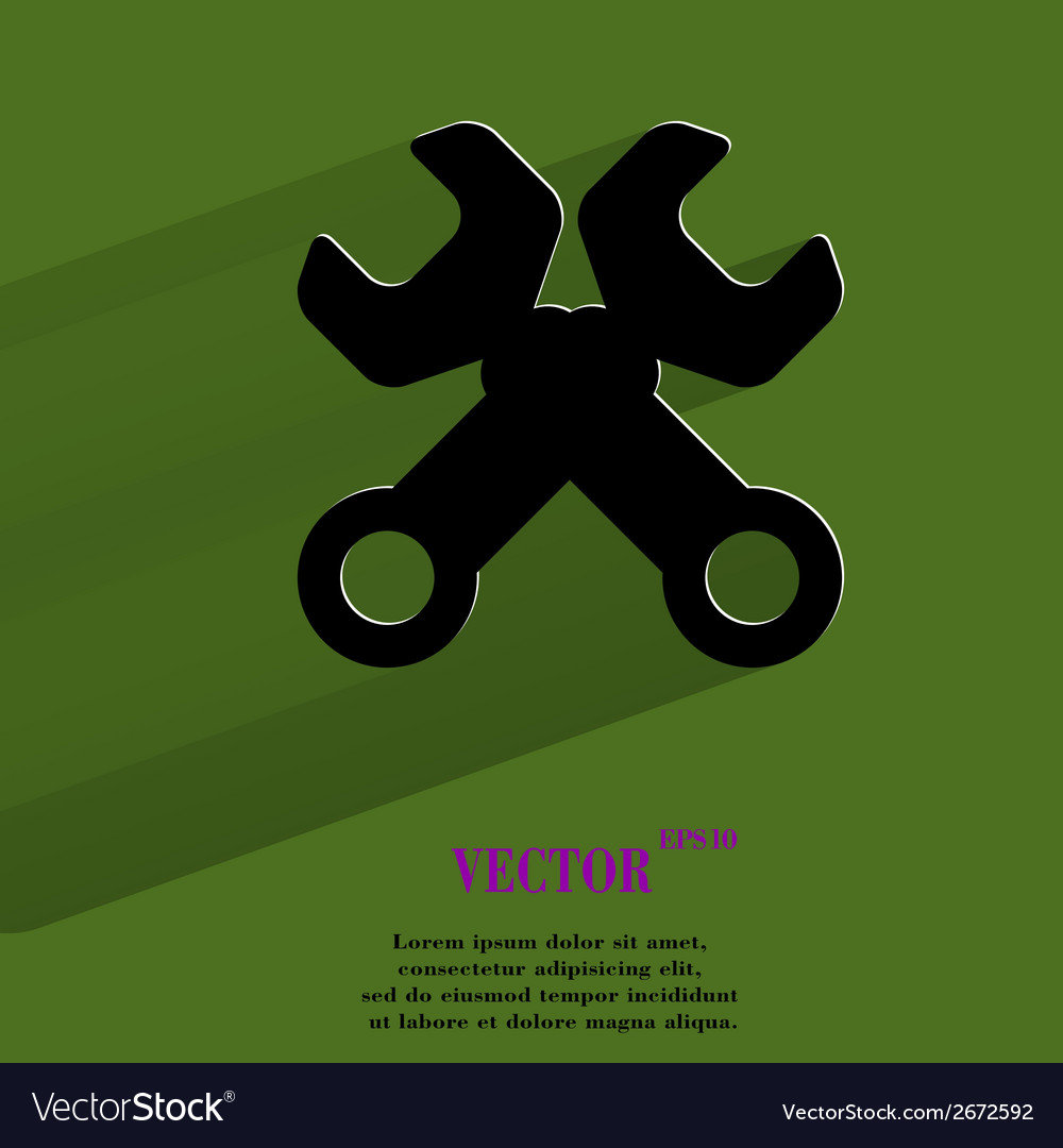Wrench tool to work flat modern web button with vector   Price: 1 Credit (USD $1)