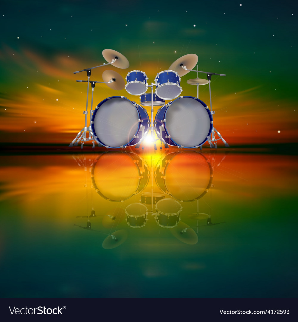 Abstract music background with drum kit and dark vector | Price: 3 Credit (USD $3)