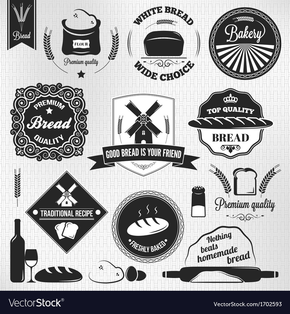 Bread set bakery vintage labels vector | Price: 1 Credit (USD $1)