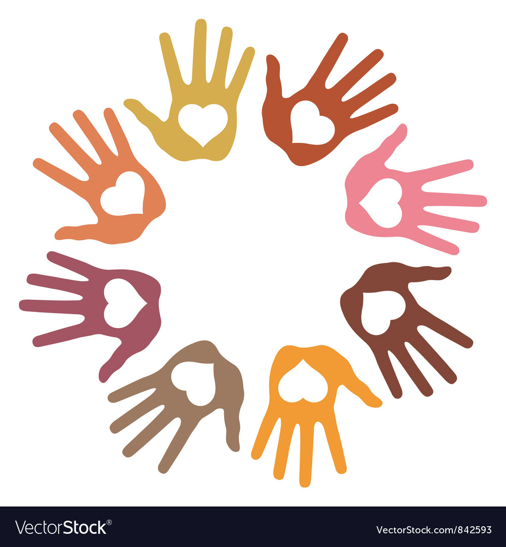 Circle of 8 loving hand prints vector | Price: 1 Credit (USD $1)