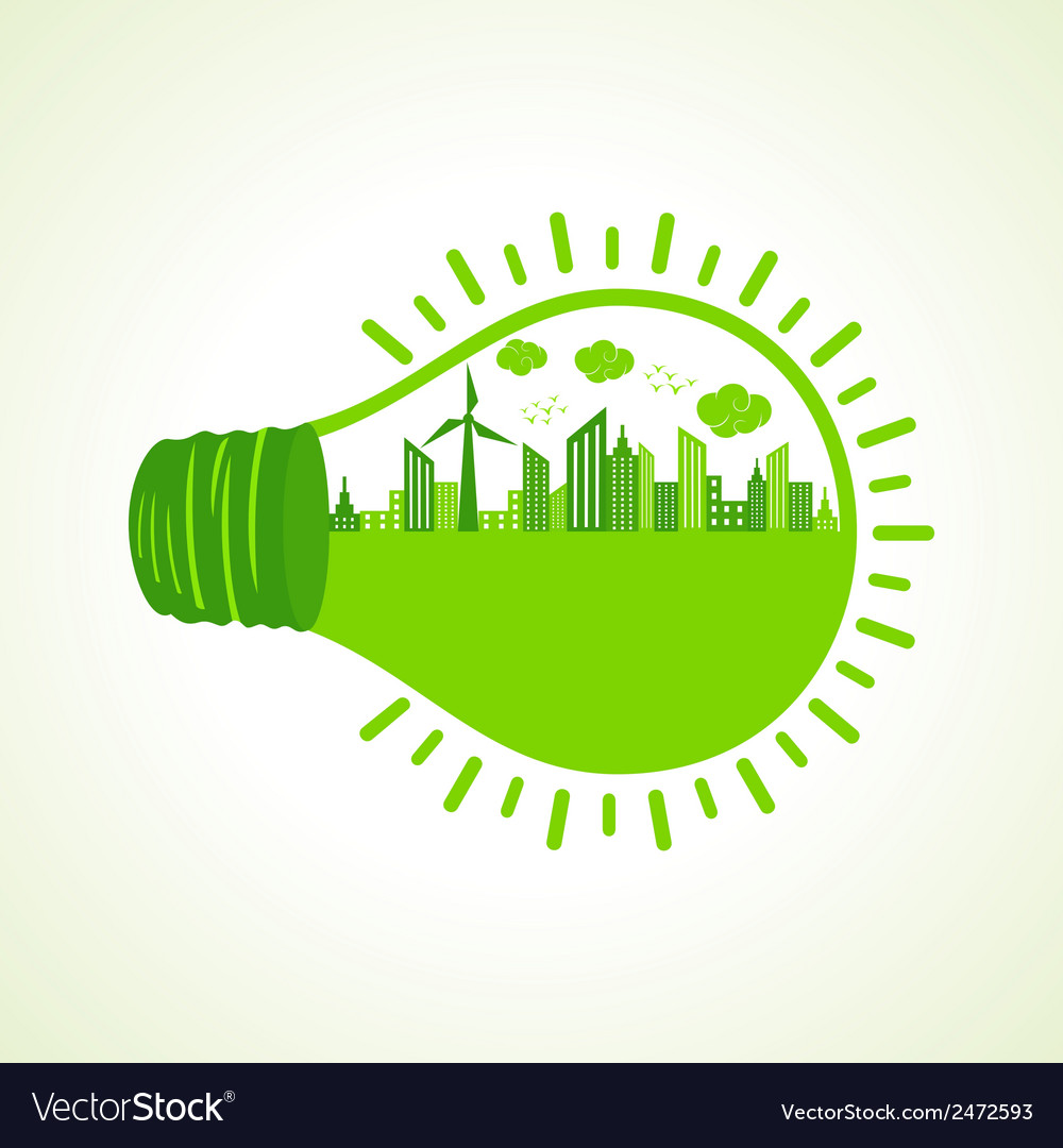 Ecology concept with bulb- vector | Price: 1 Credit (USD $1)