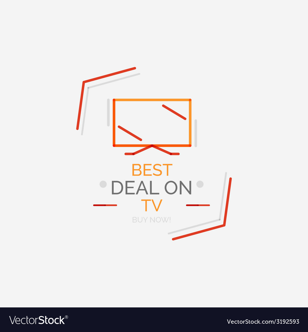 Minimal line design shopping stamps tv vector | Price: 1 Credit (USD $1)