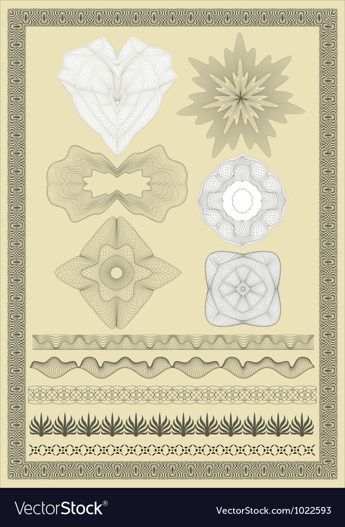 Pattern for currency certificate or diplom vector | Price: 1 Credit (USD $1)