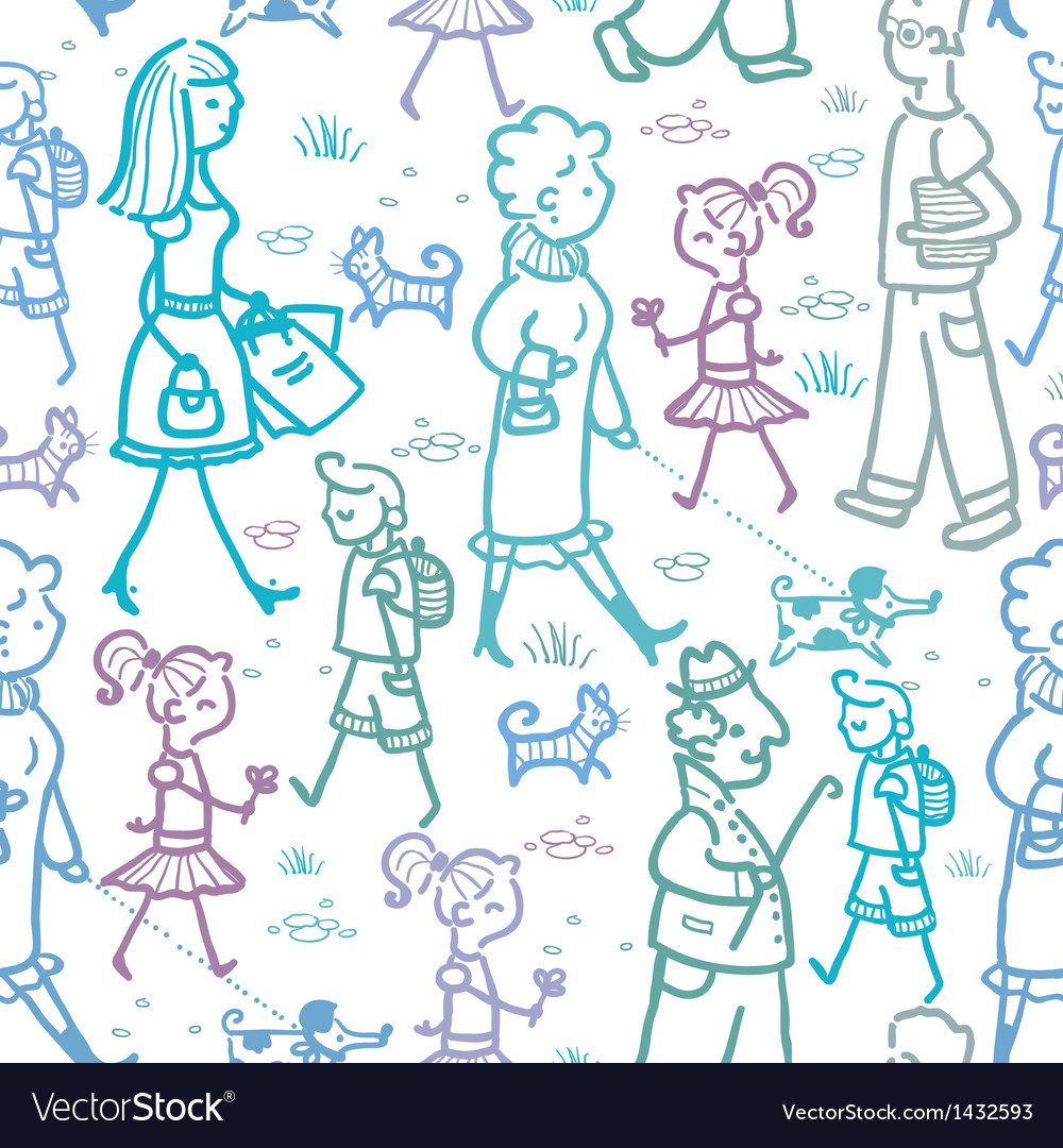 People walking seamless pattern background and vector | Price: 1 Credit (USD $1)