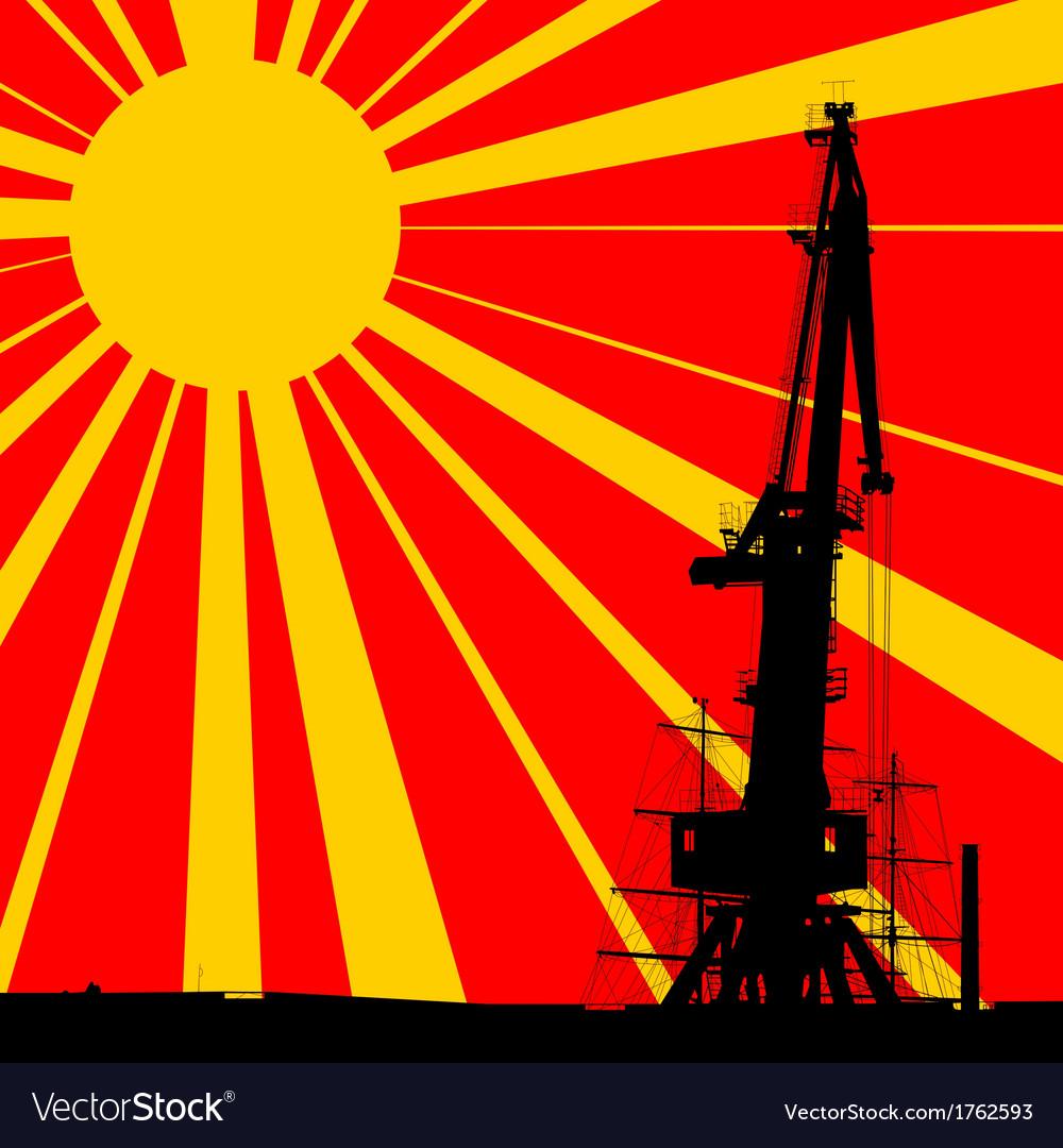 Port crane background vector | Price: 1 Credit (USD $1)