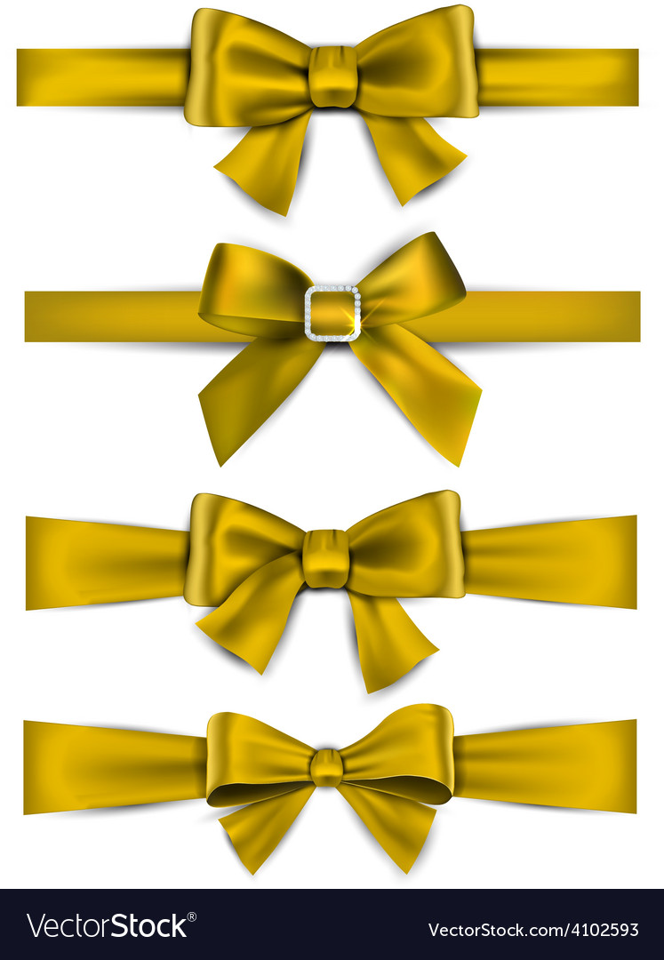 Satin golden ribbons gift bows vector | Price: 1 Credit (USD $1)