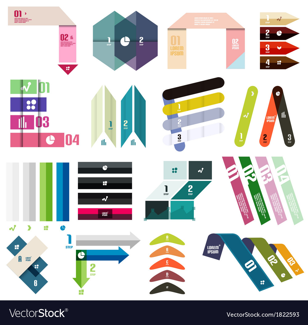 Set of stripes infographic design templates vector | Price: 1 Credit (USD $1)