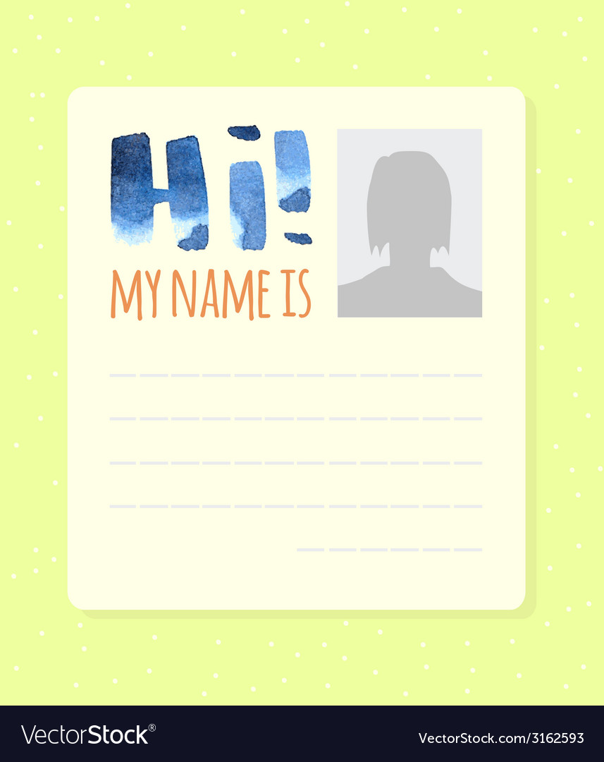 Simple form hi my name is vector | Price: 1 Credit (USD $1)