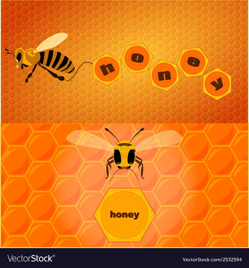 Bee and text vector | Price: 1 Credit (USD $1)