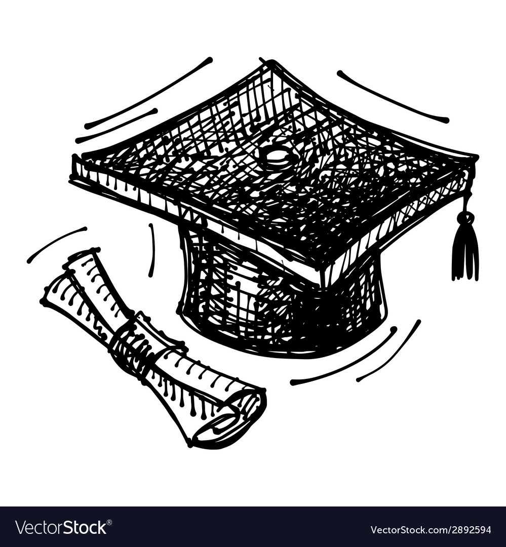 Black sketch drawing of cap of masters degree vector | Price: 1 Credit (USD $1)