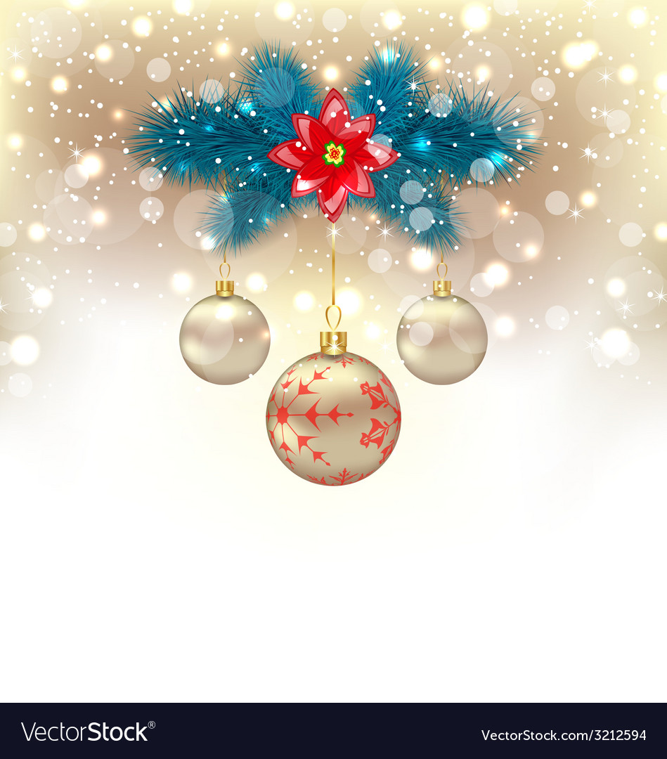 Christmas gliwing background with fir branches vector | Price: 1 Credit (USD $1)