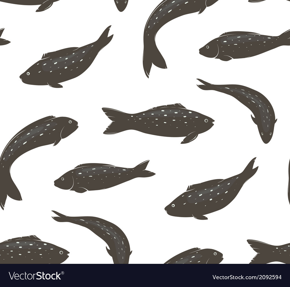 Fish black and white seamless pattern vector | Price: 1 Credit (USD $1)