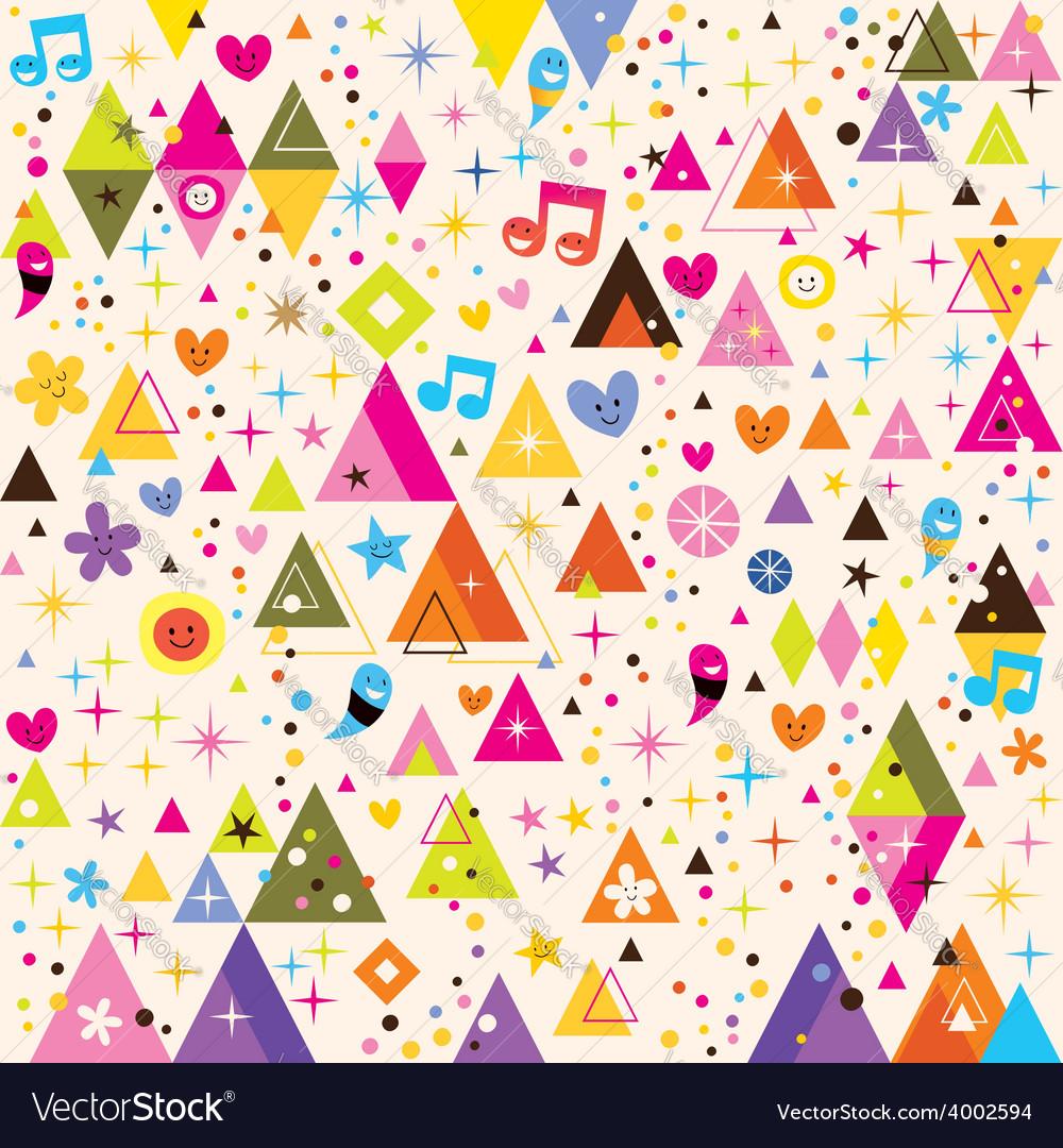 Fun triangles funky cartoon retro pattern vector | Price: 1 Credit (USD $1)
