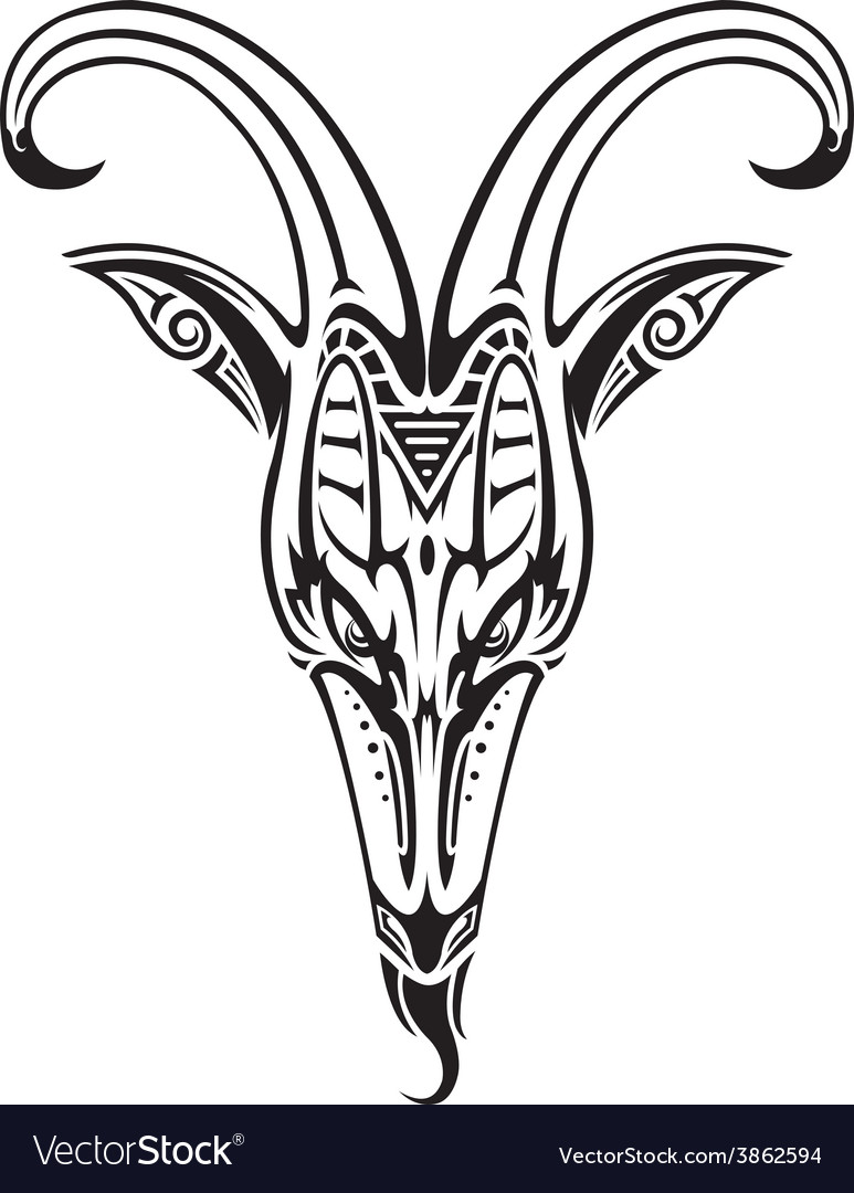 Goat head on white vector | Price: 1 Credit (USD $1)